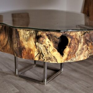 Oak slice with glass coffee table