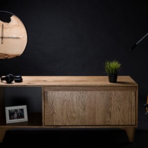 Rustic solid oak tv stand